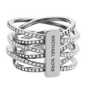 Michael Kors Silver-Tone Pave Twist Stack Ring